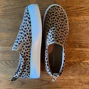 Cheetah slip on platform sneakers